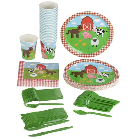 Girl Baby Shower Plates And Napkins (Farm Animals Party Supplies – Serves 24 – Includes Plates, Knives, Spoons, Forks, Cups and Napkins. Perfect Barn Animal Party Pack for Kids Barnyard Animal Themed)