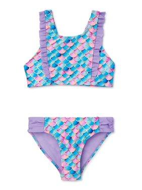 XOXO Girls Mermaid Ruffled Bikini Swimsuit, Sizes 4-16