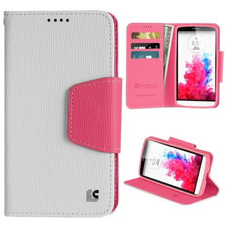 low priced 5c2ce 8389d WHITE PINK INFOLIO WALLET CREDIT CARD ID CASH CASE COVER STAND FOR LG G3  VIGOR