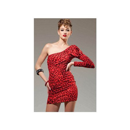- Forplay Red One Sleeve Mini Dress 221202FP_R Red