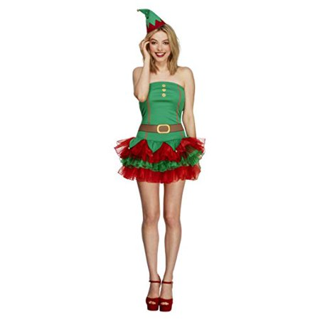 Smiffy's Adult Women's Fever Elf Costume, Tutu Dress And Hat, Christmas, (Smiffy's Elf Costume)