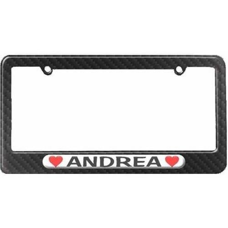 Andrea Love with Hearts License Plate Tag Frame, Carbon Fiber Pattern