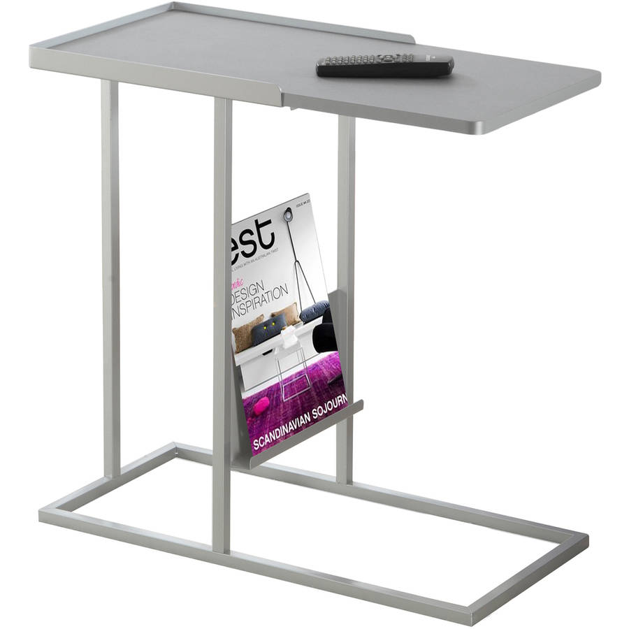 Accent Table with Magazine Rack, Gray Silver Metal by Monarch Specialties Inc