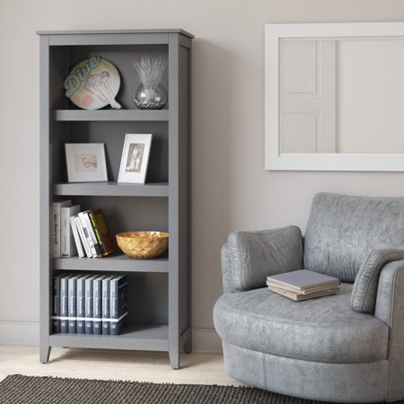 Better Homes & Gardens Bookcase with Adjustable Shelves, Antique Gray 4 Point Adjustable Shelf