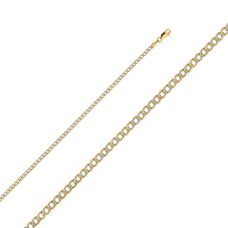 """Solid 14k Two Tone Italian Gold Cuban Curb Links 2.4mm Chain Hollow White Pave Diamond Cut Necklace 16"""" , 18"""" , 20"""" , 22"""" , 24"""""""