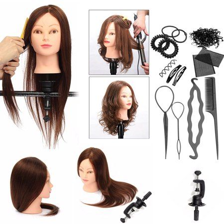 Luckyfine Mannequin Head With 100% Real Human Hair, Dyeing/Curling Practice Training Head Cosmetology Doll & Clamp & Braid