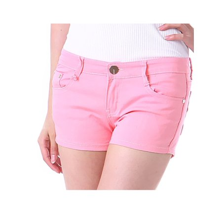 Shorts : Womens Clothing Yellow (I&P Jeans Juniors Women's Butt Lift Solid Color Casual Stretch Fit Cotton Shorts)