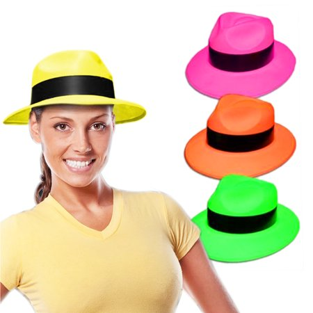 Ganster Hats (Novelty Place [Party Stars] Neon Color Gangster Fedora Plastic Party Hats for Kids Teens and Adult (Pack of)