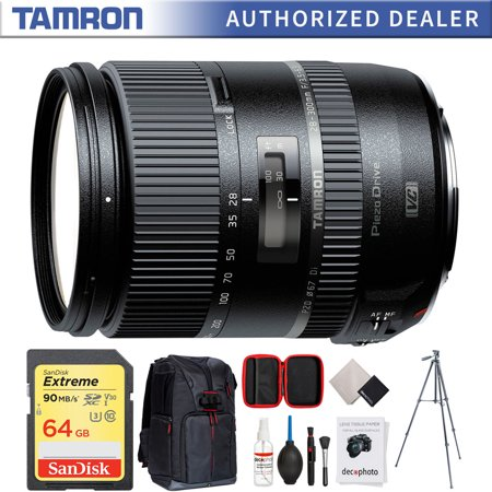 """Tamron 28-300mm F/3.5-6.3 Di VC PZD Lens for Canon (AFA010C-700) w/64GB Accessories Bundle Includes, 64GB Memory Card, Photo Camera Sling Backpack, Vanguard 60"""" Video Tripod & All-in-One Cleaning Kit"""