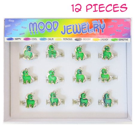 9ba386bb FROG SAC 12 PCs Unicorn Mood Rings Tray for Girls, Kids, Tween - Cute Color  Changing Ring Set - Great Party Favors, Stocking Stuffers, Fun Mood ...