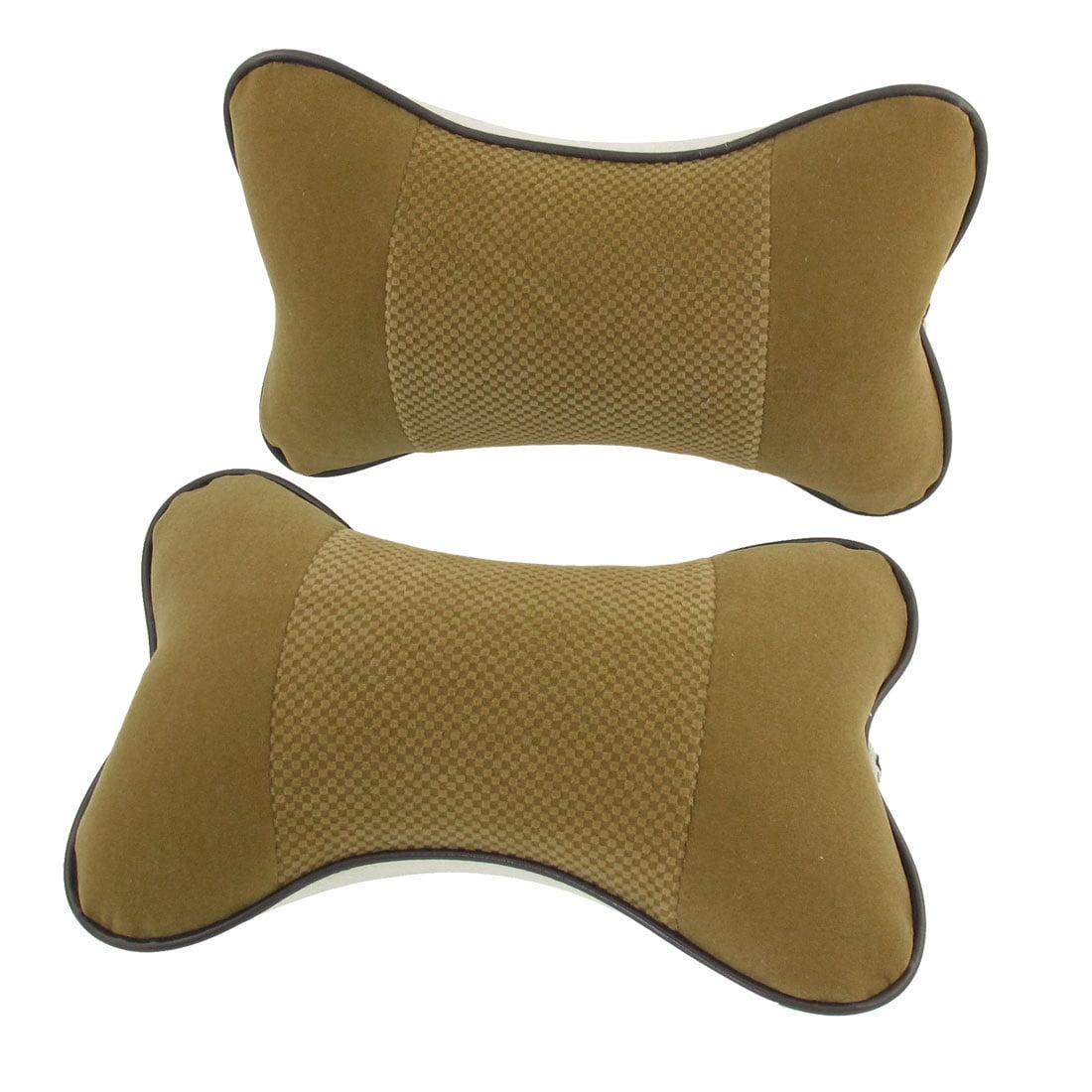 Unique Bargains 2 x Trcuk Zipper Closure Elastic Band Head Rest Pillows Cushion Pad Brown