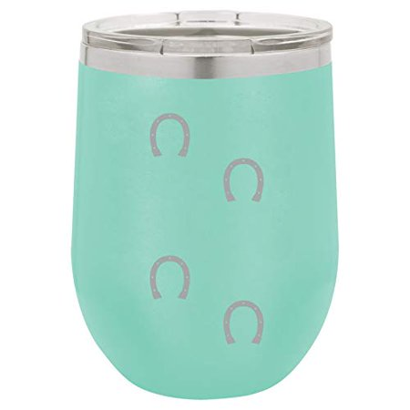 12 oz Double Wall Vacuum Insulated Stainless Steel Stemless Wine Tumbler Glass Coffee Travel Mug With Lid Horseshoe Tracks (Teal) - Lids Order Tracking