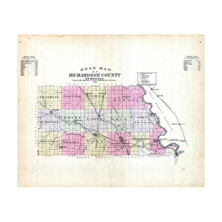 1896, County Road Map, Nebraska, United States Print Wall Art