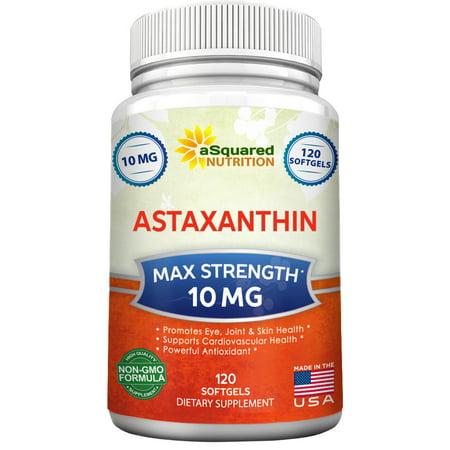 aSquared Nutrition Supplément astaxanthine (Max Force 10mg, 120 Gélules) - Antioxydant puissant pur de Haematococcus Pluvialis Extrait - pilules astaxanthine naturelles pour promouvoir les yeux, la peau et conjointe