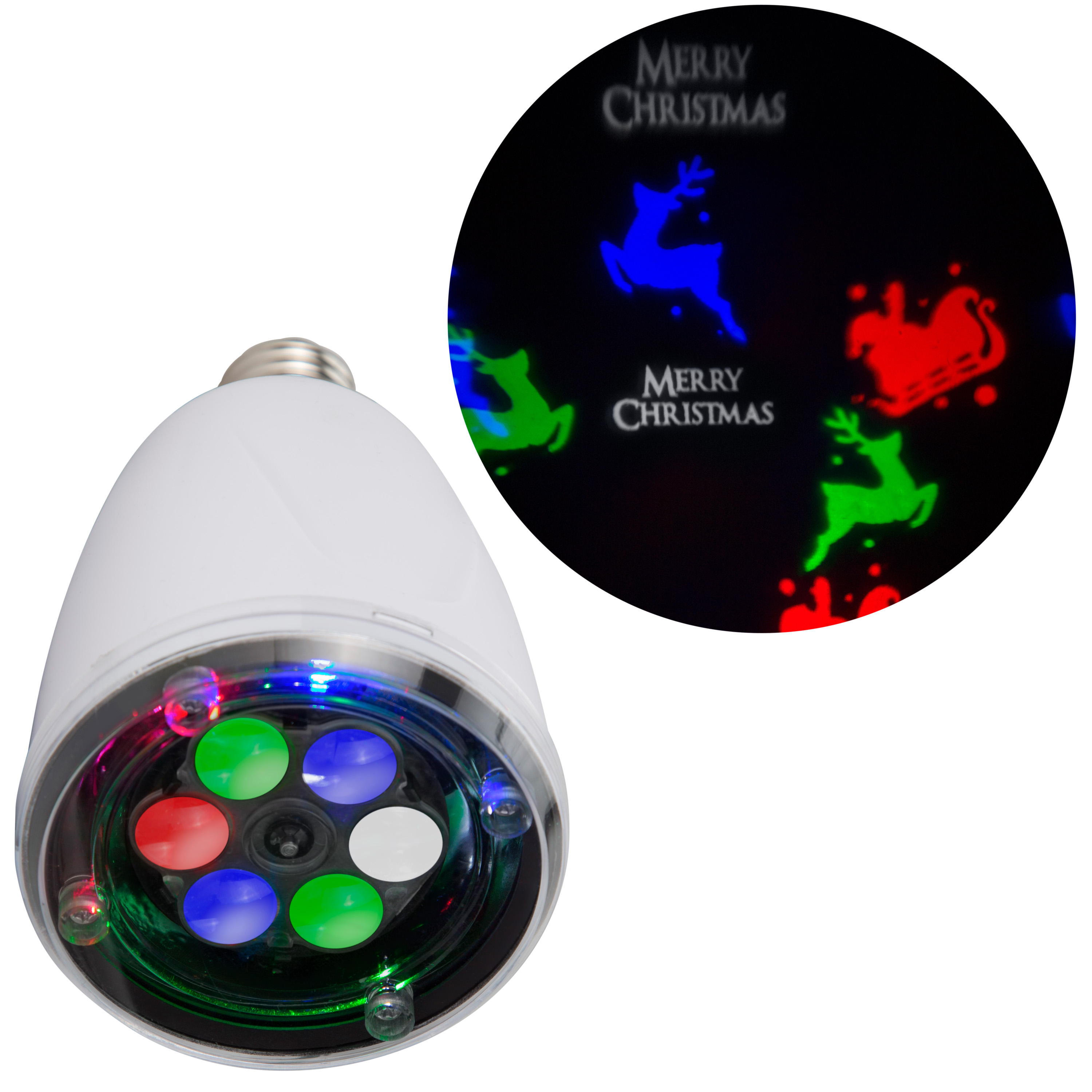 Lightshow Projection Light Bulb-Whirl-a-Motion-Merry Christmas