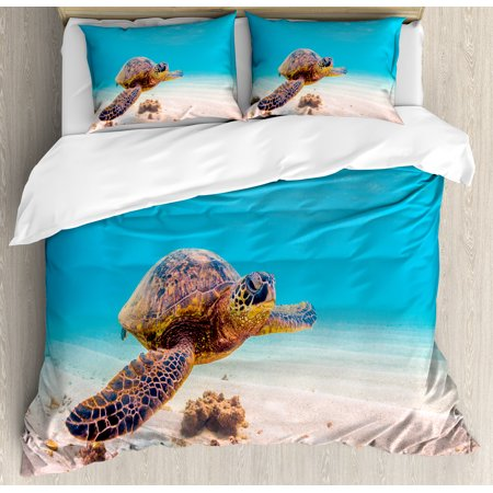 Turtle Queen Size Duvet Cover Set  Hawaiian Green Sea Turtle Cruises In Warm Waters Of The Pacific Ocean Photo  Decorative 3 Piece Bedding Set With 2 Pillow Shams  Aqua Cinnamon Brown  By Ambesonne