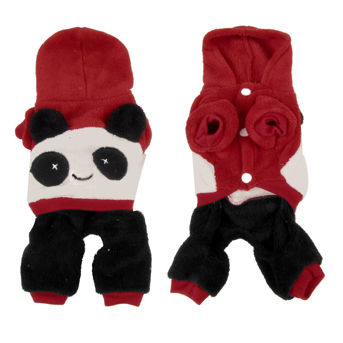 Warm Hooded Panda Shaped Chihuahua Pet Dog Cat Apparel Clothes Jumpsuit Red XS