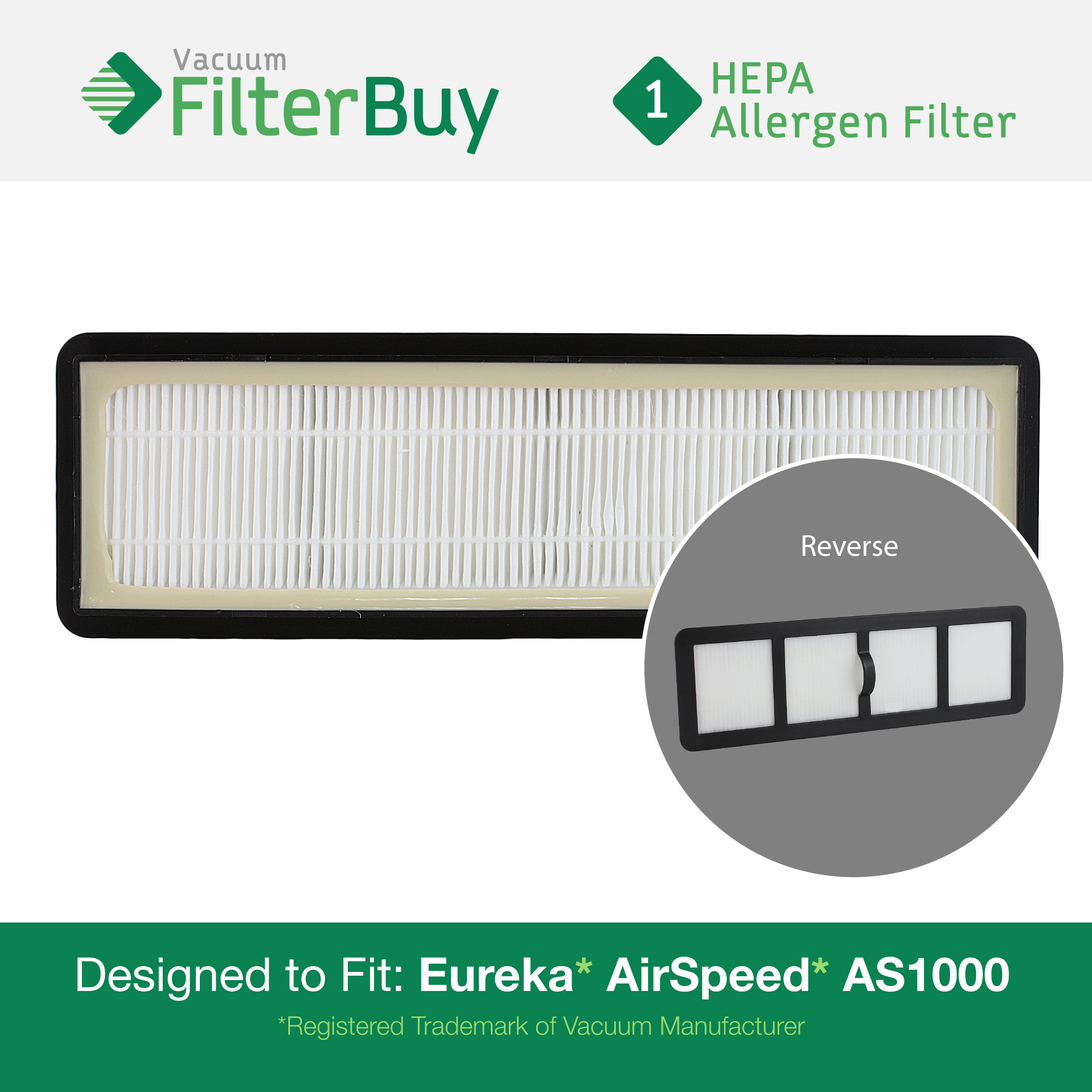 Eureka Airspeed EF6 (EF-6) HEPA Replacement Filter, Part # 83091-1. Designed by FilterBuy to fit Eureka Airspeed AS1000 Upright Vacuums