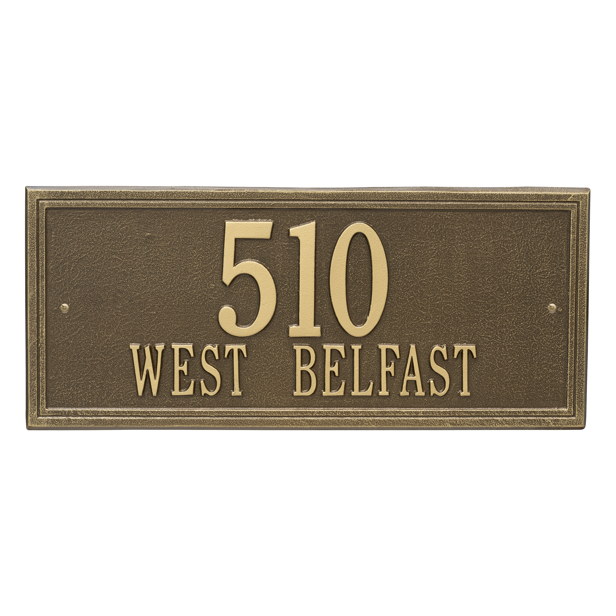 Personalized Whitehall Products Double Line 2-Line Estate Wall Plaque in Antique Brass