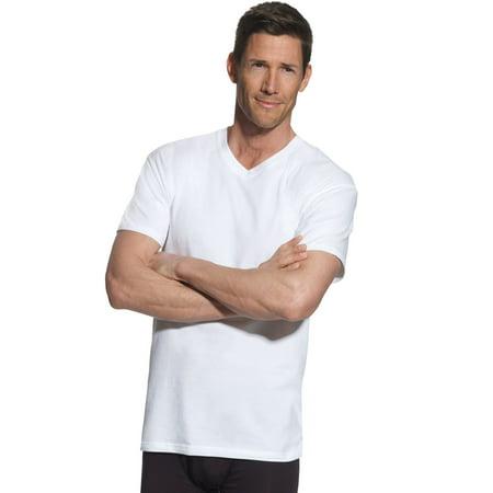 Hanes Mens FreshIQ ComfortBlend 4-Pack Tall V-Neck T-Shirts, 2XT, White ()