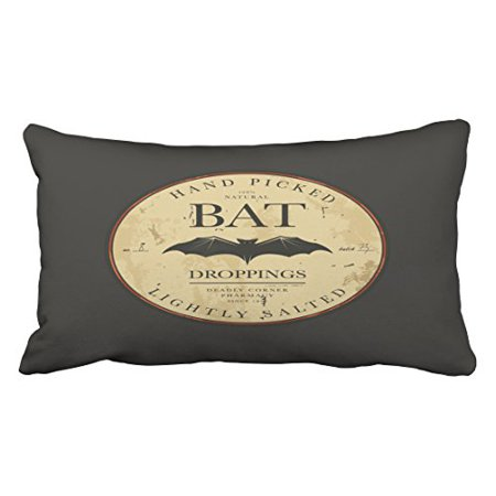 WinHome Bat Droppings Vintage Halloween Label Throw Pillow Covers Cushion Cover Case 20X30 Inches Pillowcases Two Side