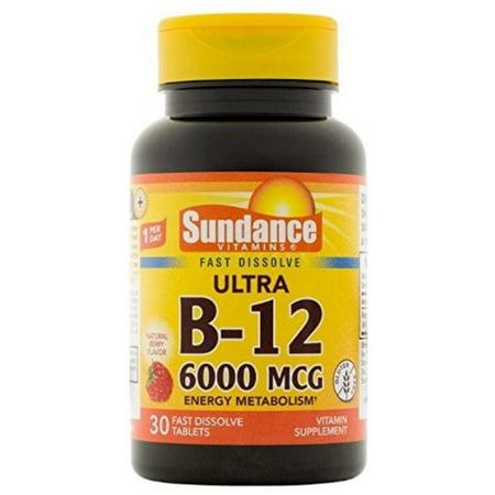 Sundance Vitamins B12 6000 mcg Tablets For Energy Metabolism, 30 ea