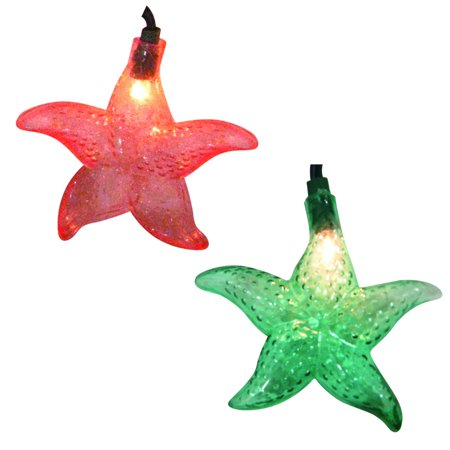 Set of 10 Tropical Beach Starfish Novelty Christmas Lights - Green Wire](Tropical Christmas Decorations)