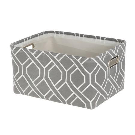 Mainstays Medium Canvas Grey/White Print Basket