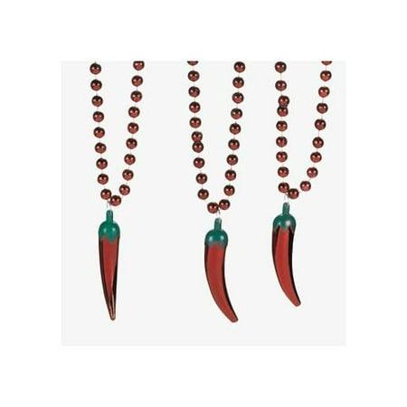 Fun Express - Metallic Chili Pepper Beaded Necklace for Cinco de Mayo - Jewelry - Mardi Gras Beads - Misc Mardi Gras Beads - Cinco de Mayo - 24 Pieces