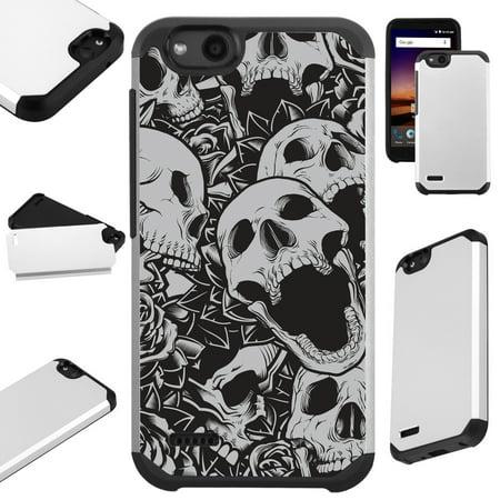 For ZTE ZFive G LTE / ZFive C / Avid 4 / Fanfare 3 / Blade Vantage / Tempo X / Tempo Go Case Hybrid TPU Fusion Phone Cover (Skull Rose) ()