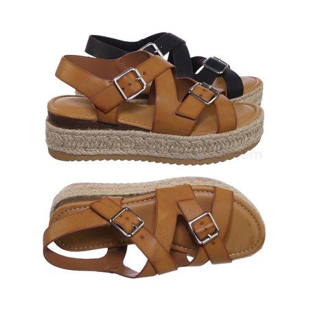 Motivate11 by Bamboo, Retro Cage Espadrilles Platform - Wedge Flatform Comfort Sandal Black Retro Wedge Sandals