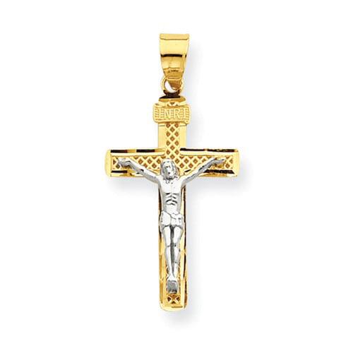 14k Two-Tone Gold Rhodium D/C Medium Block Lattice Cross INRI Crucifix Pendant