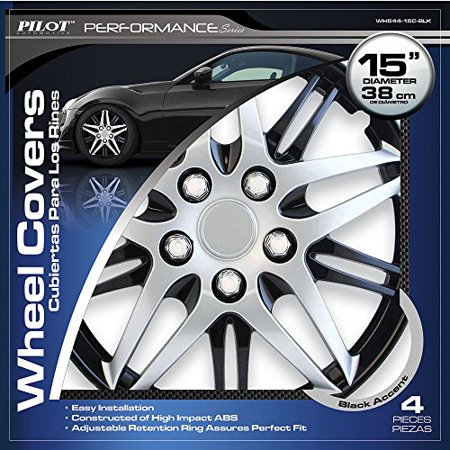 "Pilot WH544-15C-BLZ Chrome on Black 15"" Wheel Covers - Set of 4"