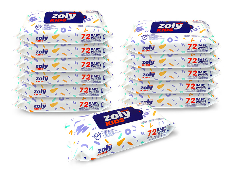 Zoly Baby Wipes 72 count, Family Pack (Pack of 12) 864 SHeet total by Zoly