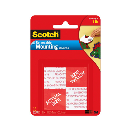 Scotch Removable Mounting Squares, 1 in. x 1 in., White, 16/Pack