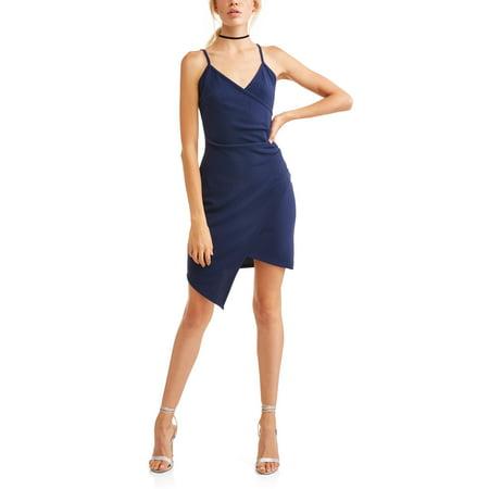 Juniors' Asymmetric Wrap Dress