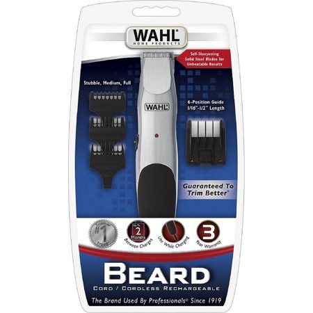 wahl beard trimmer cord or cordless with self sharpening steel blades model 9918 6171. Black Bedroom Furniture Sets. Home Design Ideas