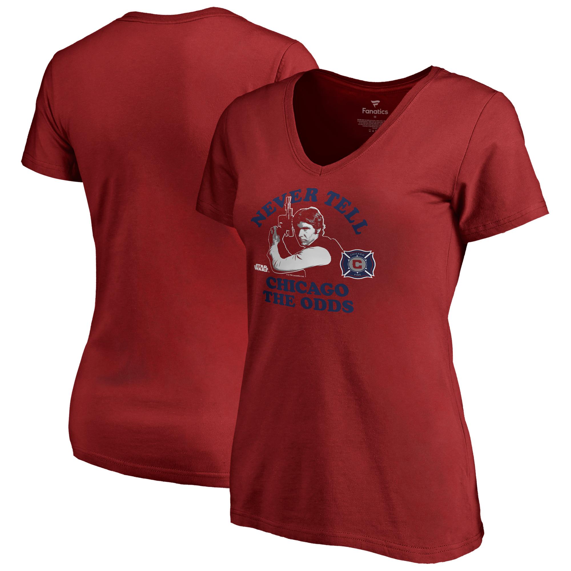 Chicago Fire Fanatics Branded Women's Star Wars Never Tell the Odds V-Neck T-Shirt - Red