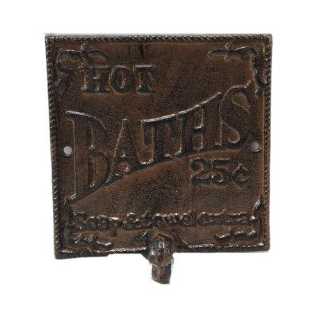 "Country Antiques Vintage Reproduction Metal ""Hot Baths"" Towel Hook, Bronze"