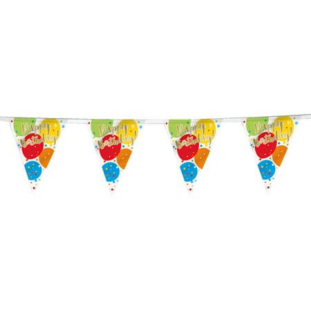 12ft plastic glitzy rainbow happy birthday pennant banner walmart com