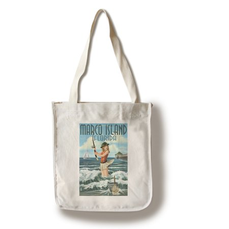 Marco Island, Florida - Pinup Girl Surf Fishing - Lantern Press Artwork (100% Cotton Tote Bag -