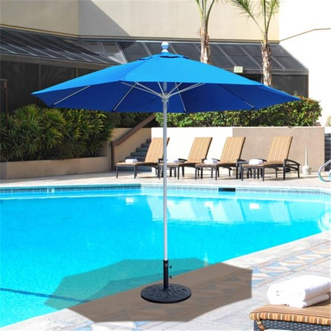 Galtech 9 ft. Black Commercial Use Umbrella - Mandarin Orange Suncrylic