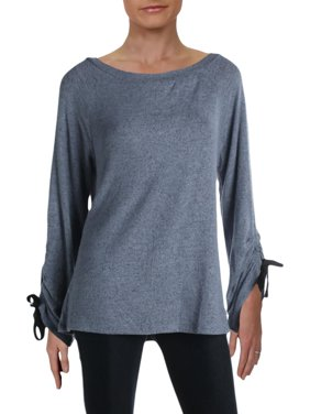 Bobeau Womens Jess Heathered Fleece Pullover Top