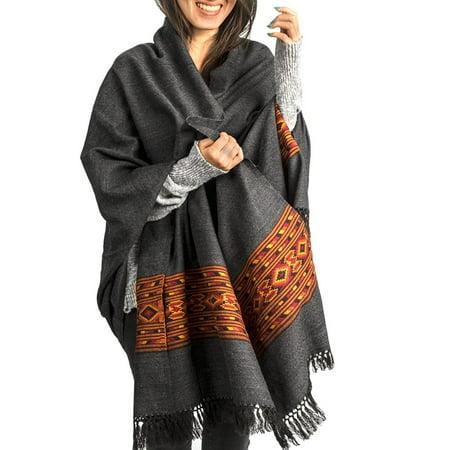 Handloom 100  Wool Shawl Large Wrap Scarf Throw Woolen Blanket Grey Soft