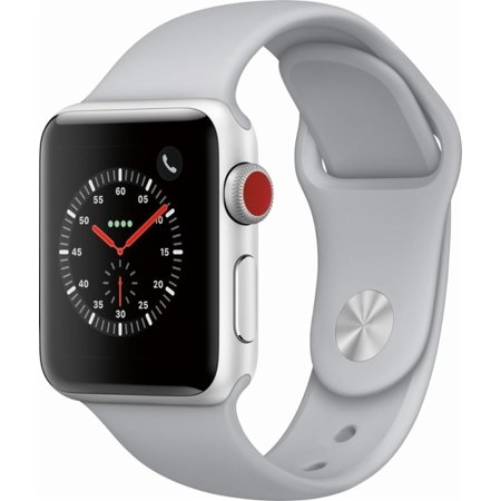 Refurbished Apple Watch Series 3 (GPS+ Cellular) 38mm Silver Aluminum Case with Fog Sport Band (GSM Unlocked) - MQJN2LL/A Dual Band Gsm 900 1800