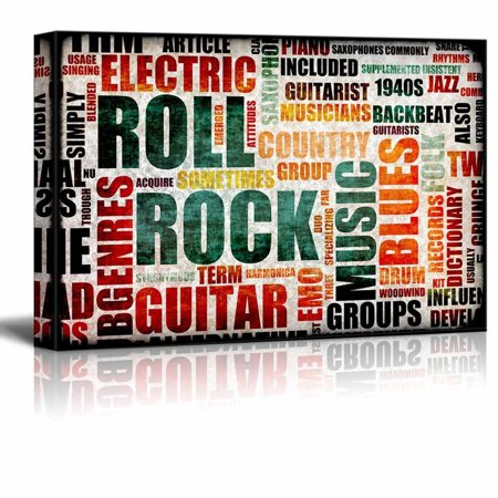 Wall26 - Canvas Prints Wall Art - Illustrated Graphic of Rock and Roll | Modern Wall Decor/ Home Decoration Stretched Gallery Canvas Wrap Giclee Print. Ready to Hang - 16