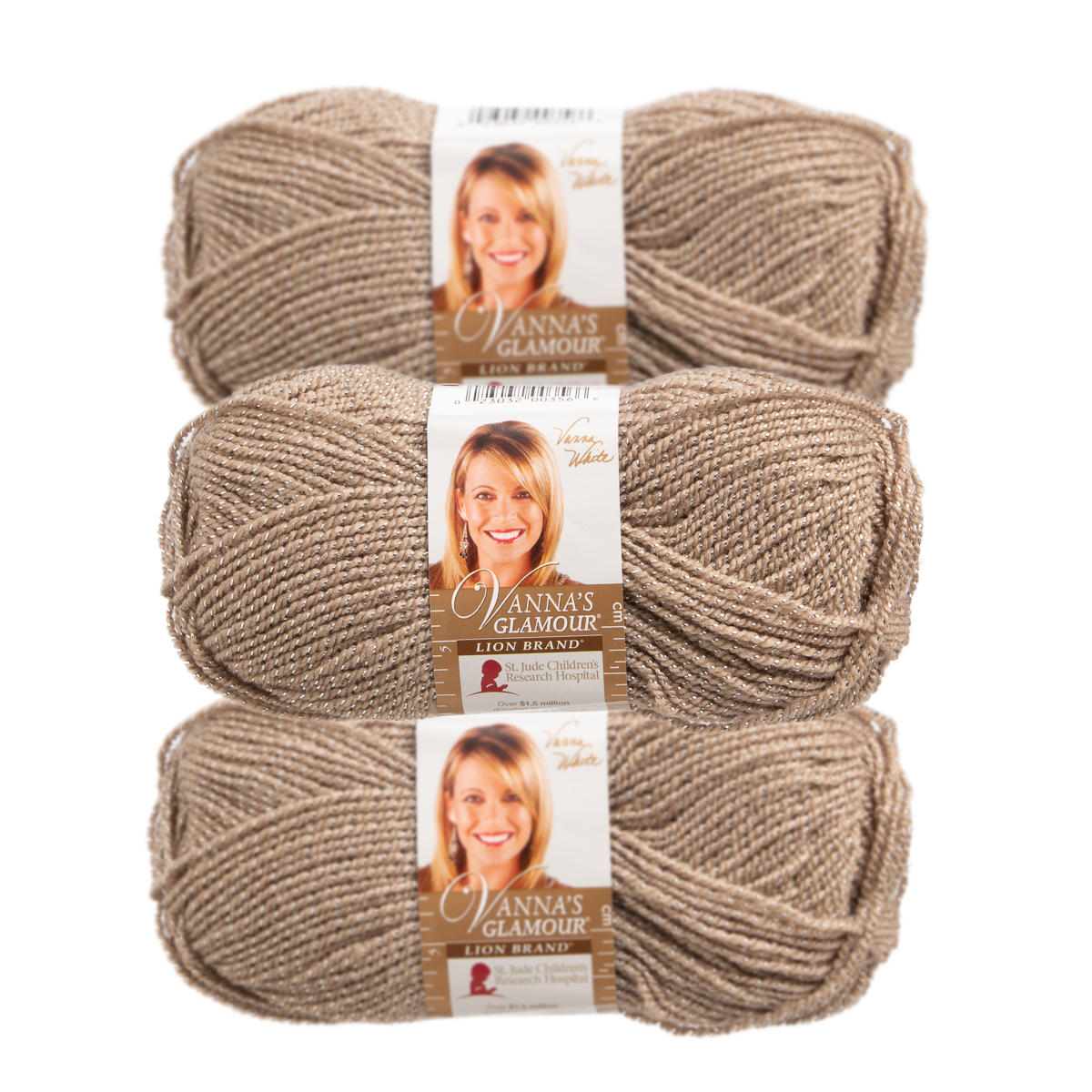 Lion Brand (3 Pack) Vanna's Glamour Acrylic & Metallic Soft Moonstone Beige With Silver Yarn for Knitting Crocheting Fine #2