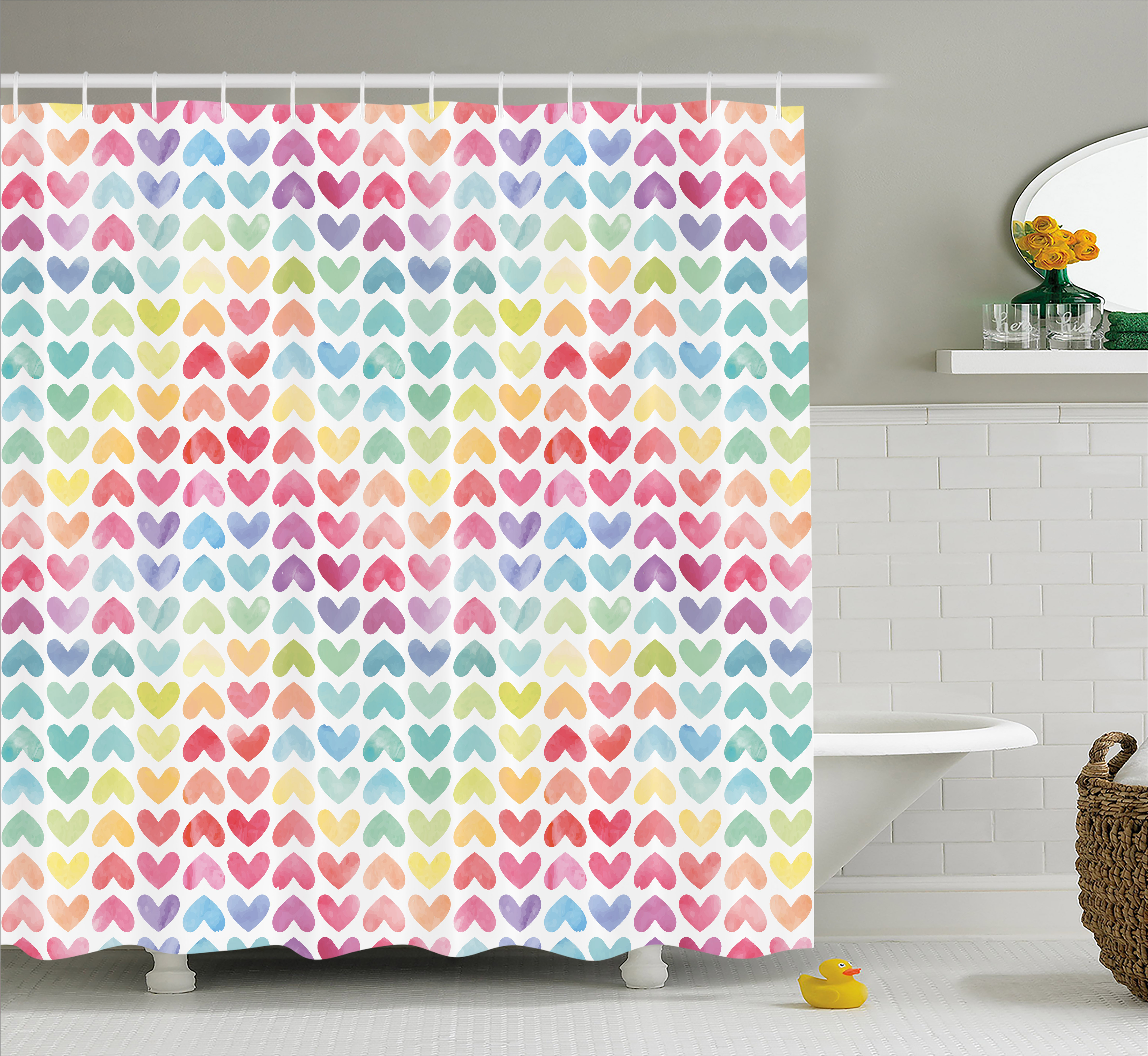 Watercolor Shower Curtain, Valentine's Day Theme Colorful Cute Little Hearts Vibrant Paintbrush Effect, Fabric Bathroom Set with Hooks, 69W X 70L Inches, Multicolor, by Ambesonne