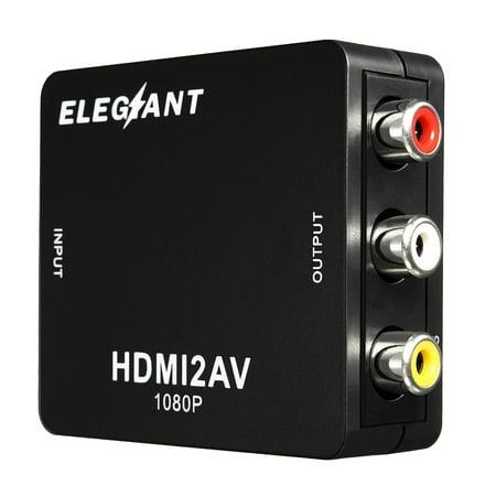 ELEGIANT 1080P High Definition Multimedia Interface to 3RCA AV CVBS Converter,Mini Composite Audio Video AV CVBS HD TV Adapter Apply to camera, DVD, Displayer, Earphone, -