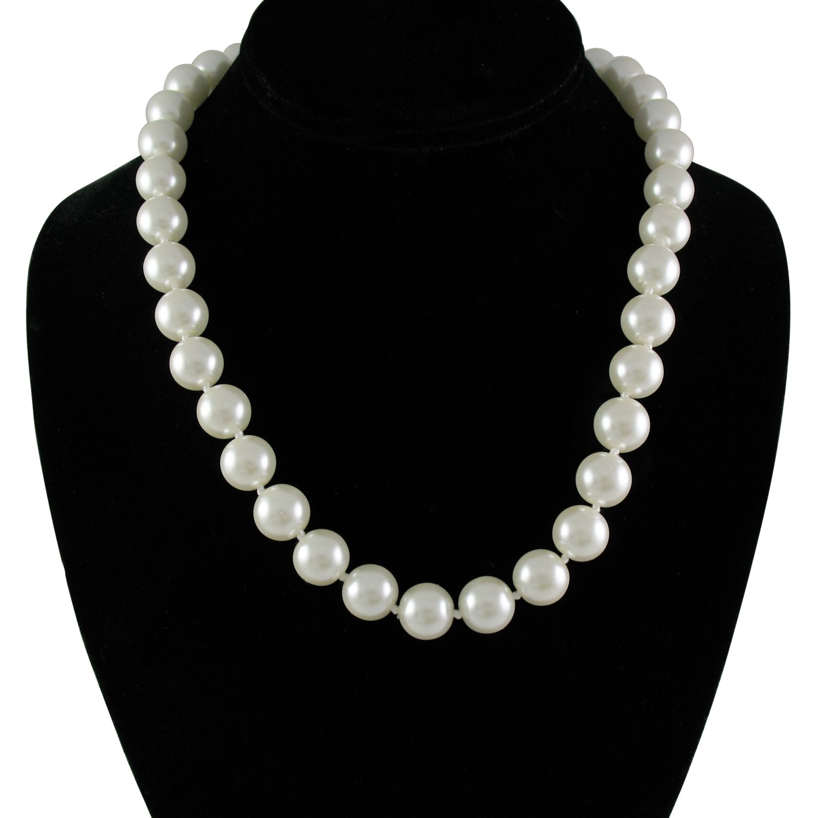 "Cream White 12mm Simulated Faux Pearl Necklace Hand Knotted Strand 18"" Inch Princess Length"